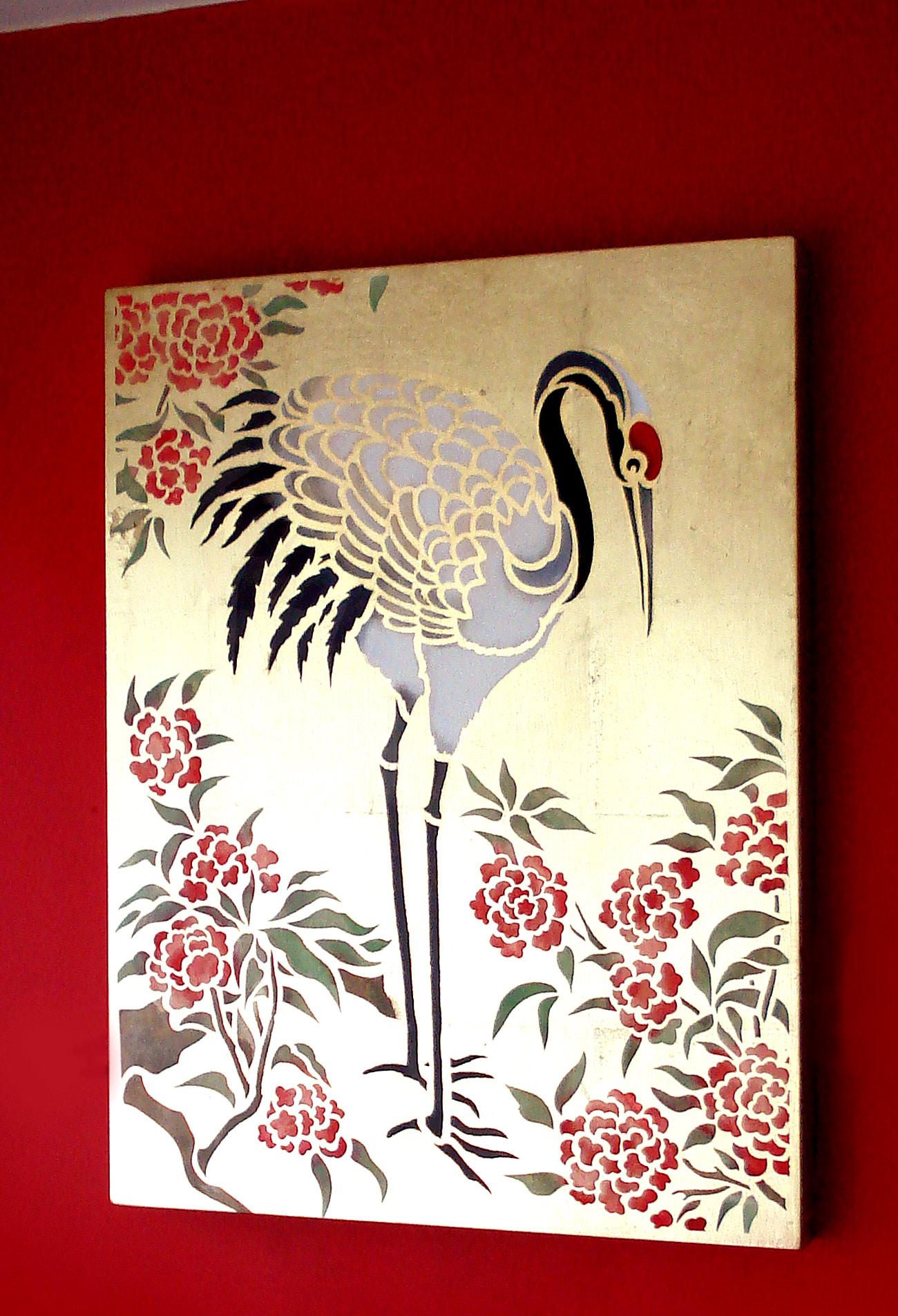 Large Standing Cranes Stencil: Large Standing Cranes Stencil