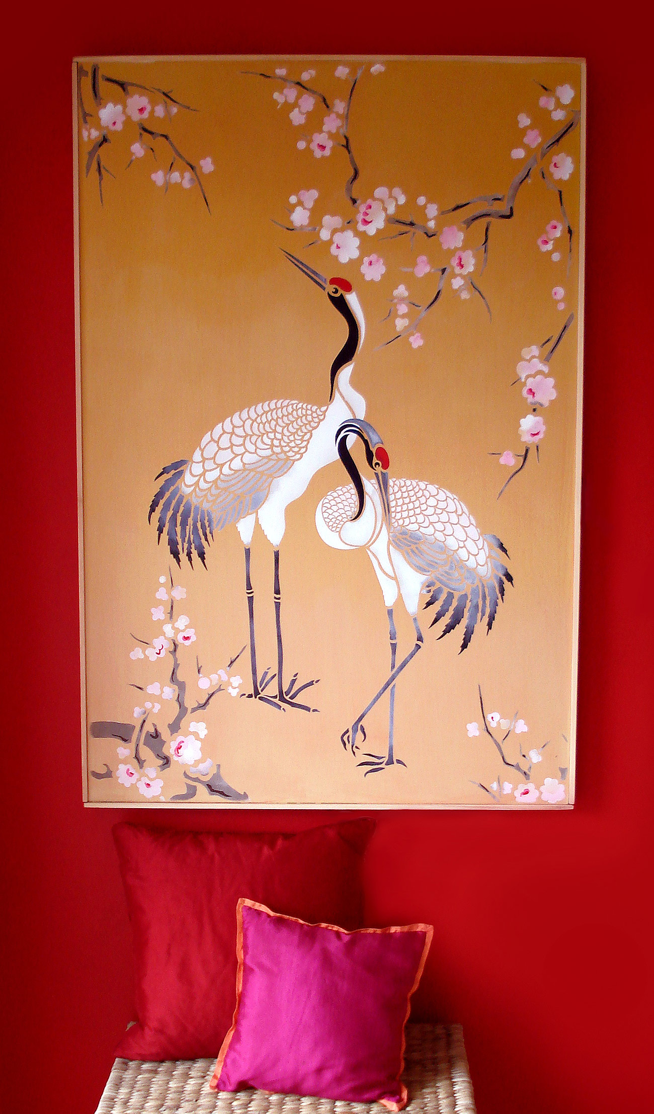 Large Standing Cranes Stencil: Large Flying Cranes Stencil