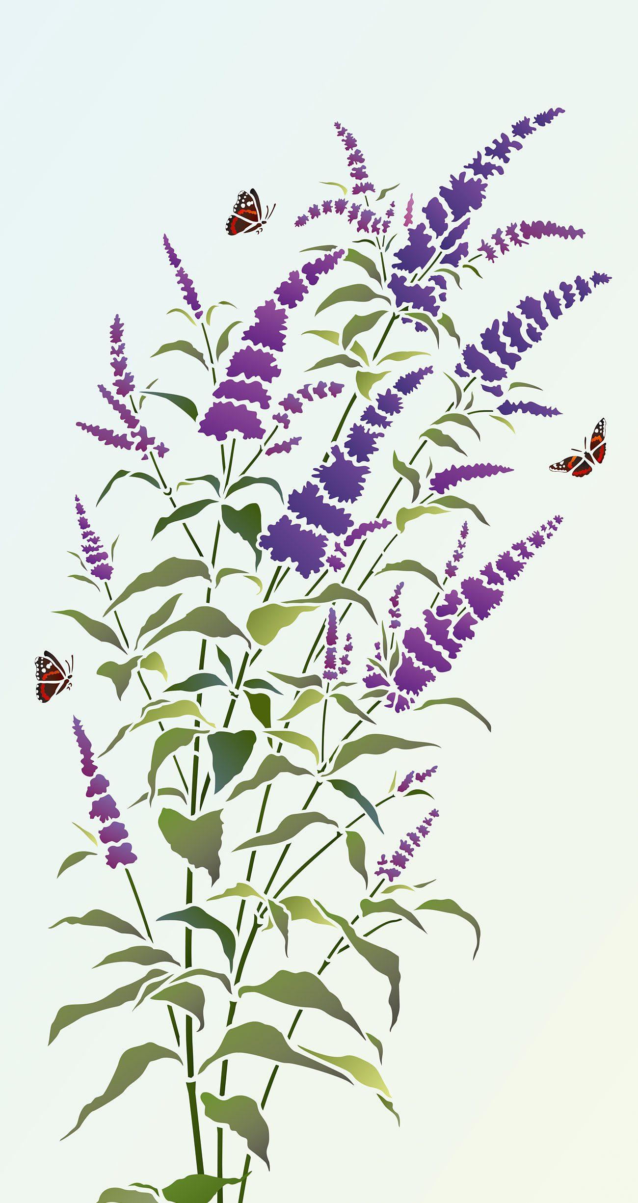 Buddleia Butterfly Bush Stencil Henny Donovan Motif