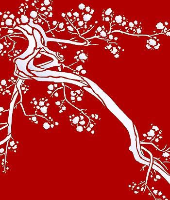 cherry blossom moon stencil henny donovan motif