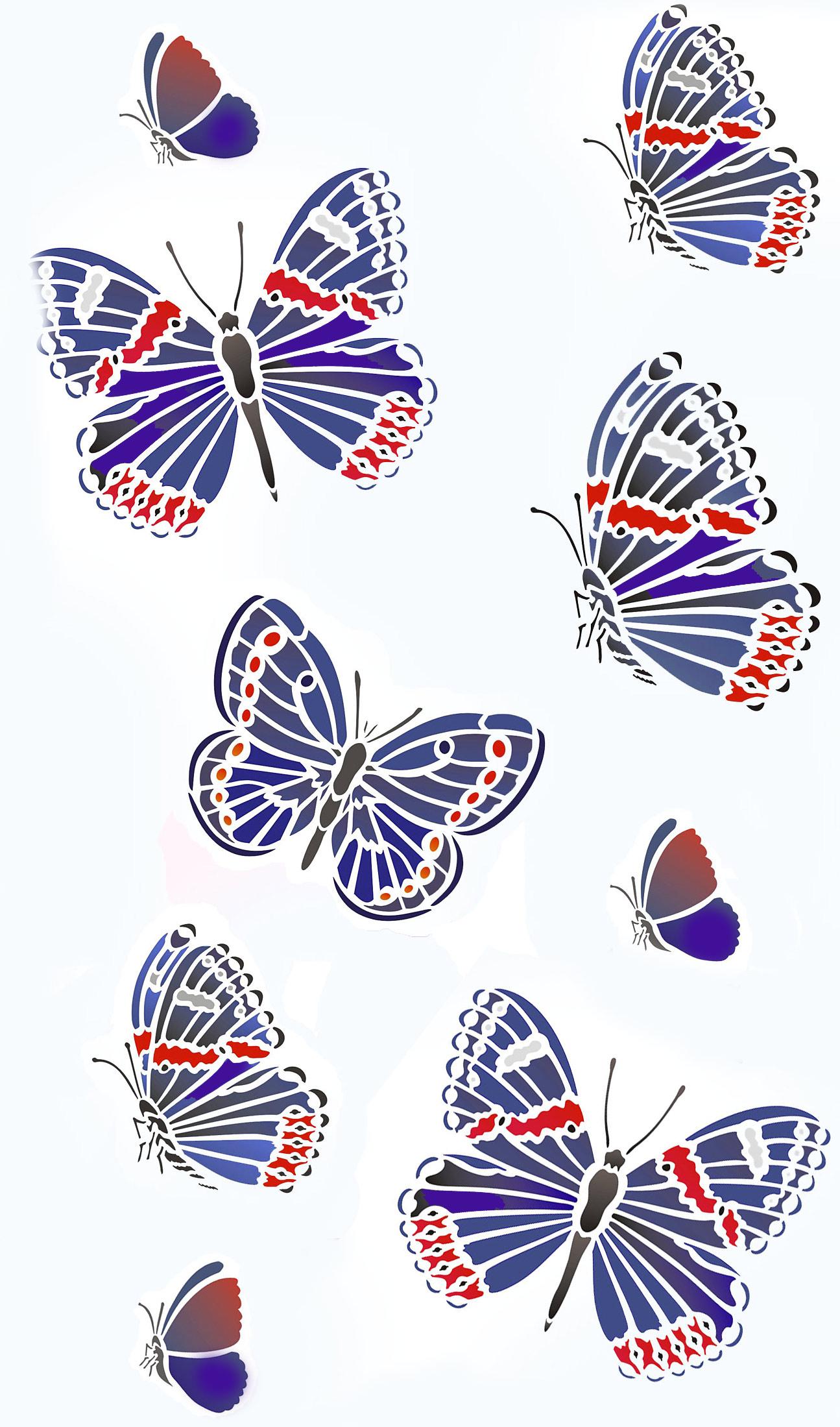 Garden Butterflies Stencil Henny Donovan Motif