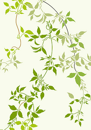 Large Trailing Clematis Leaves Stencil - Henny Donovan Motif