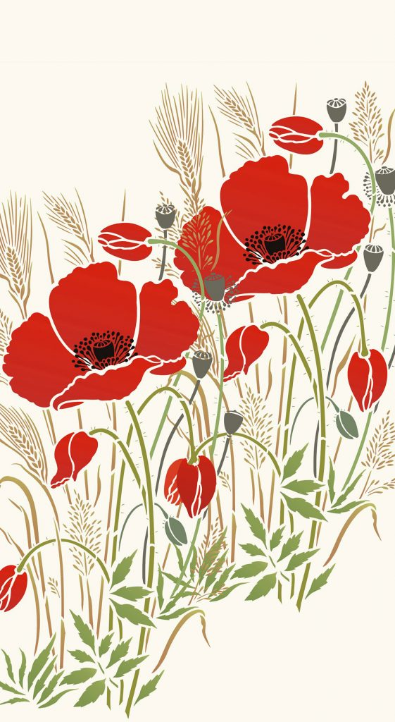 large wild poppy and grasses stencil