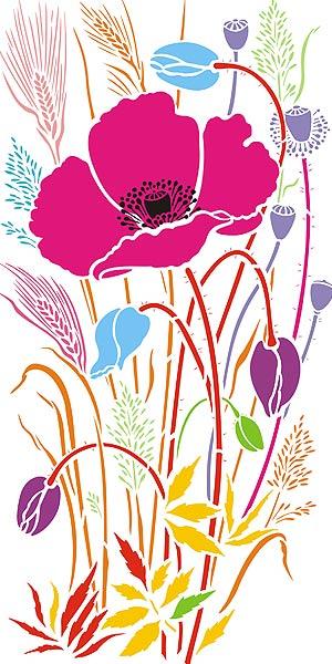 Large Wild Poppy Amp Grasses Stencil Henny Donovan Motif
