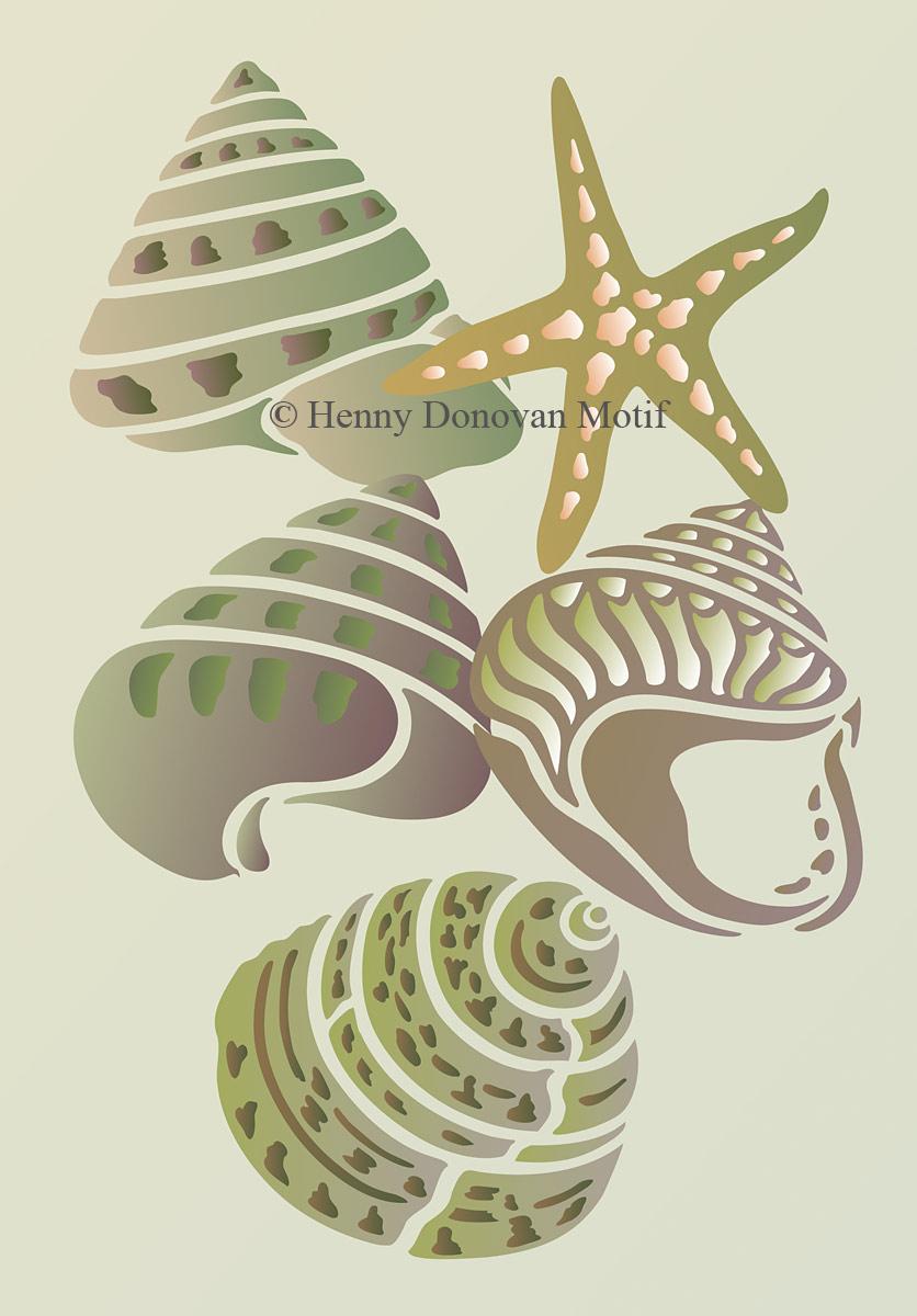 coastal shells stencil in green