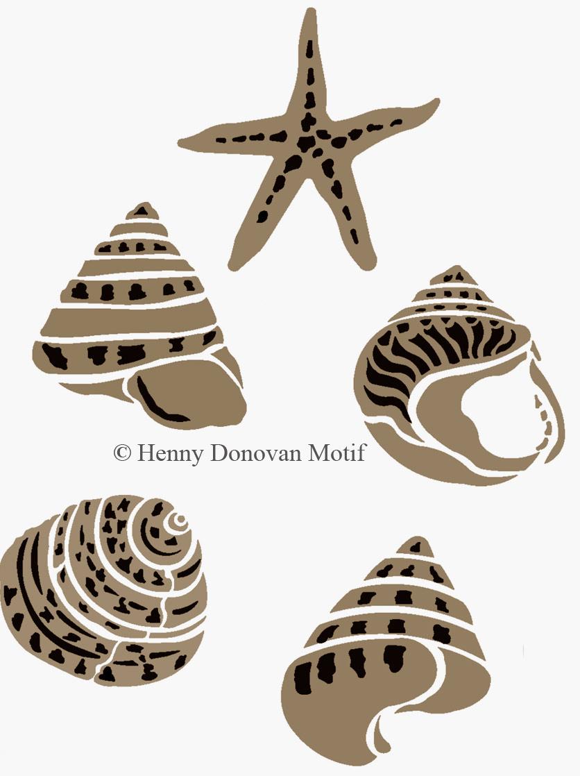 coastal shells stencil Henny Donovan
