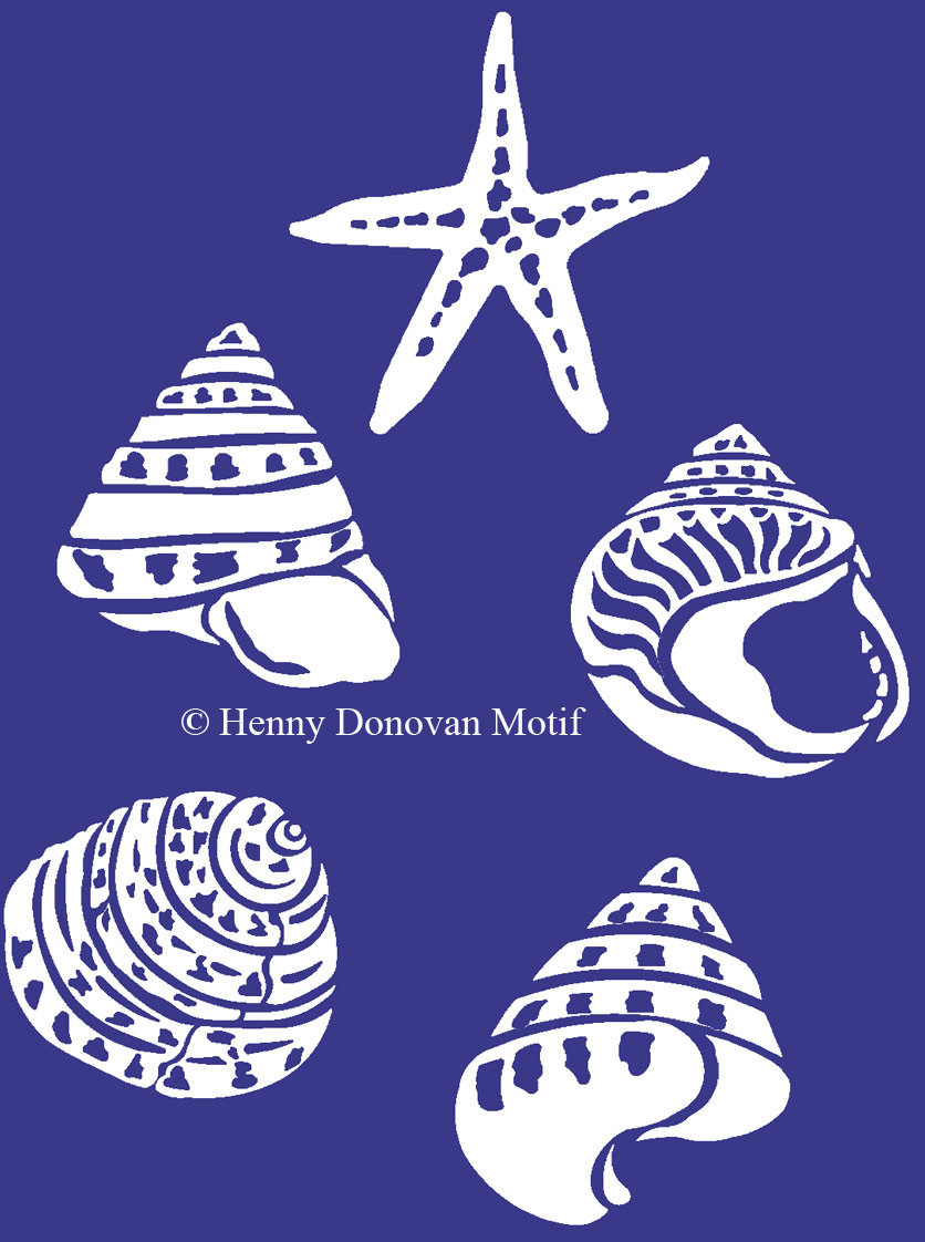 coastal shells blue on white henny donovan motif