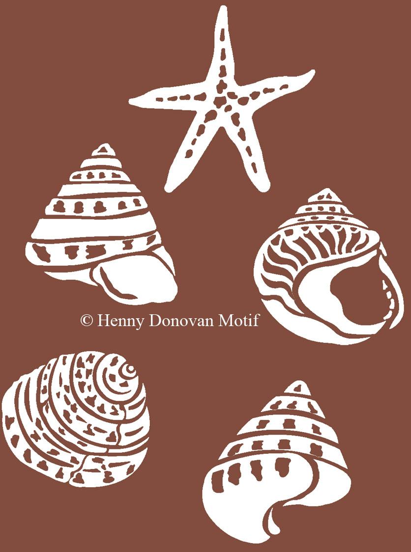 coastal shells in brown henny donovan motif