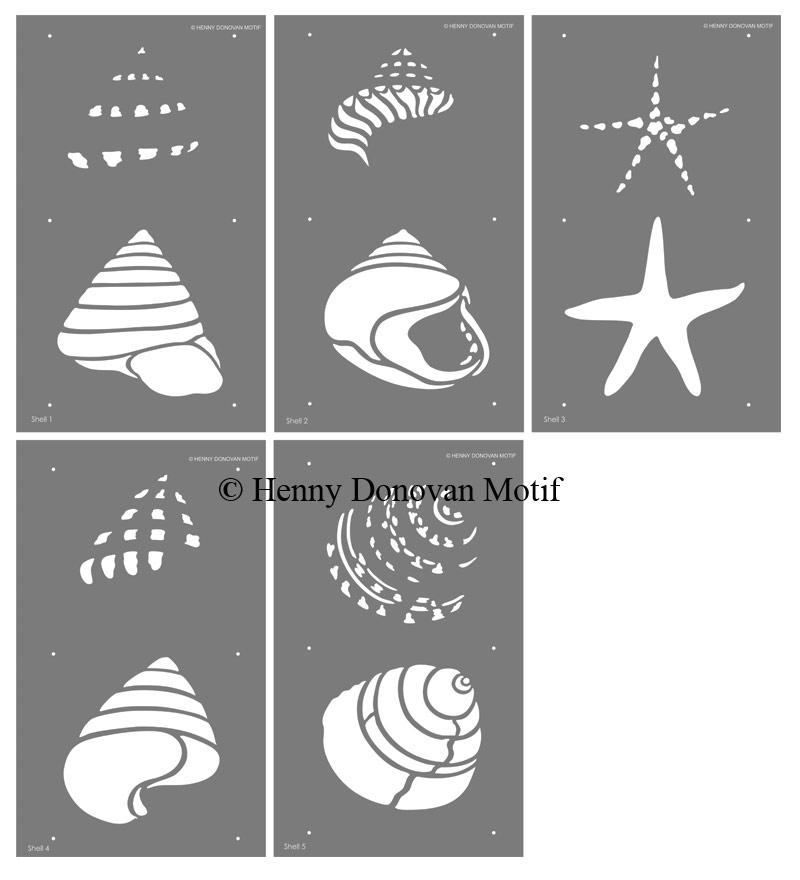 coastal shells stencil sheets
