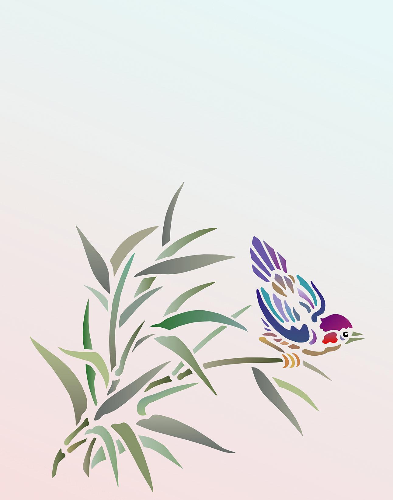 Bamboo Amp Bird Stencil Henny Donovan Motif