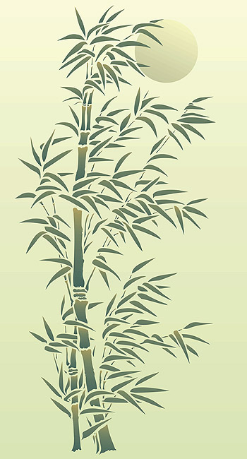 Oversize Bamboo And Moon Stencil Henny Donovan Motif