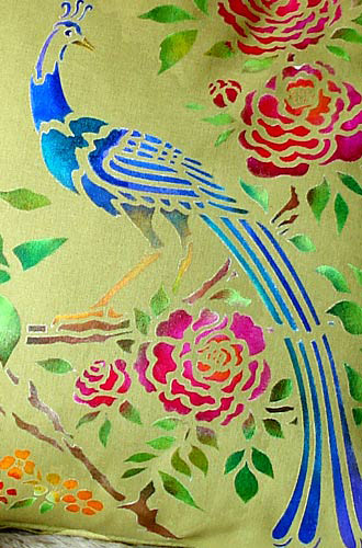 peacock  bird  u0026 blossom stencil