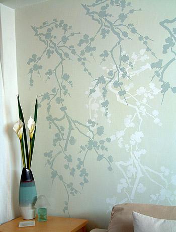 Cherry blossom silhouette stencil 2 henny donovan motif for Cherry blossom wall mural stencil