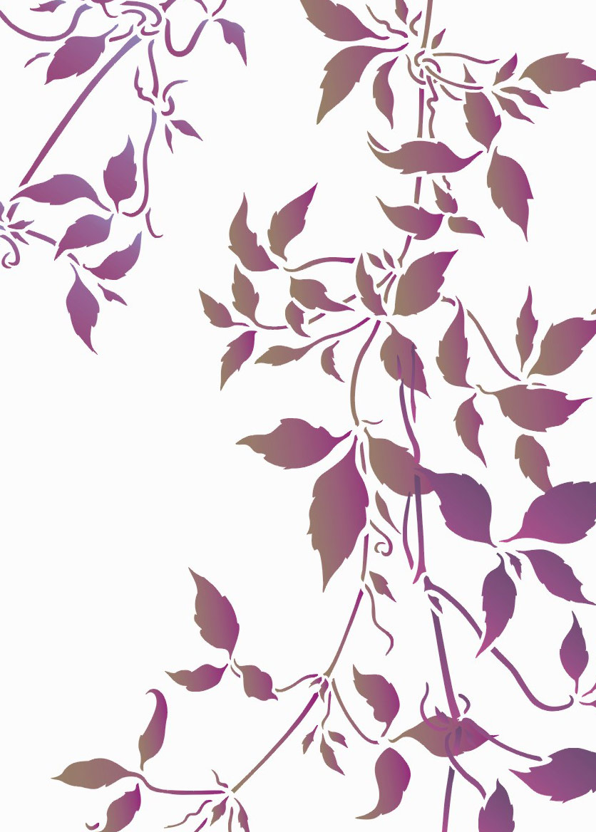 above the trailing clematis leaves theme pack shown in agapanthus and coffee bean stencil paints