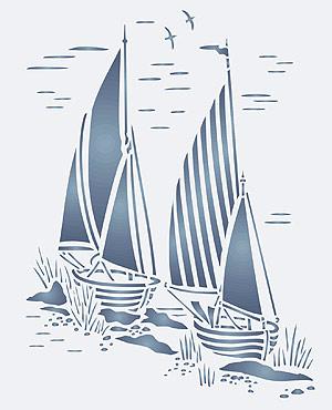 Toile Sail Boats Stencil Henny Donovan Motif