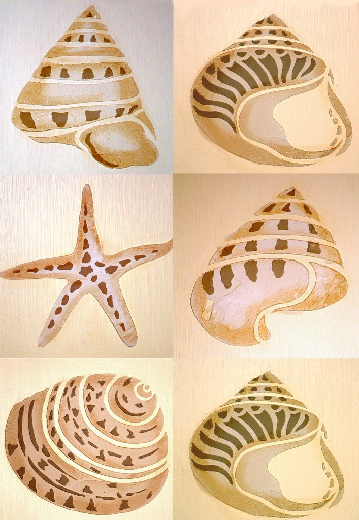 coastal shells stencil