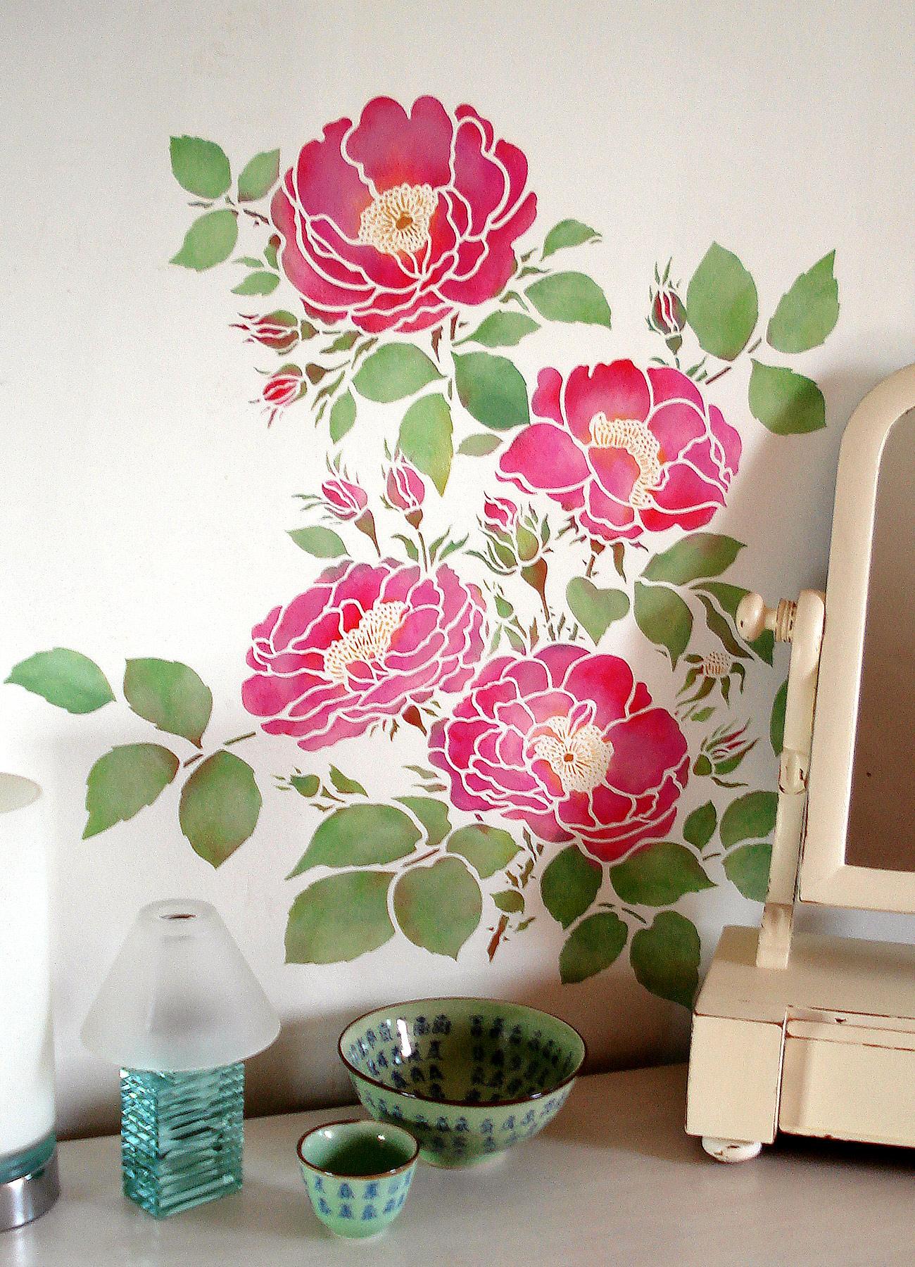 Cottage Rose Stencil Henny Donovan Motif