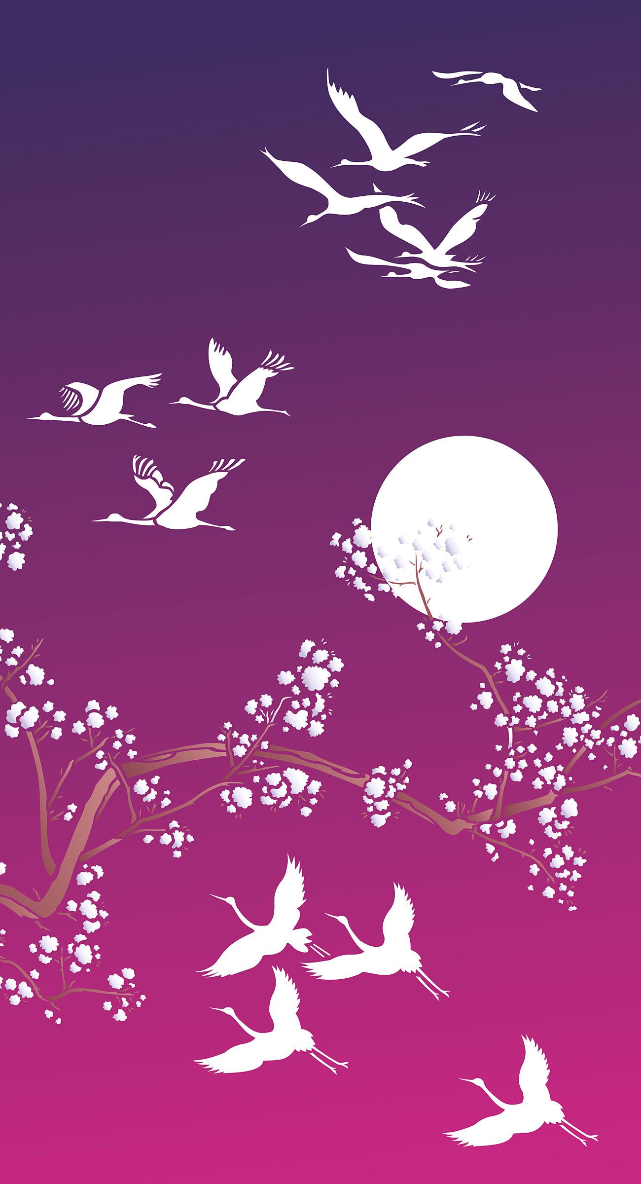 small flying cranes theme pack stencil henny donovan motif