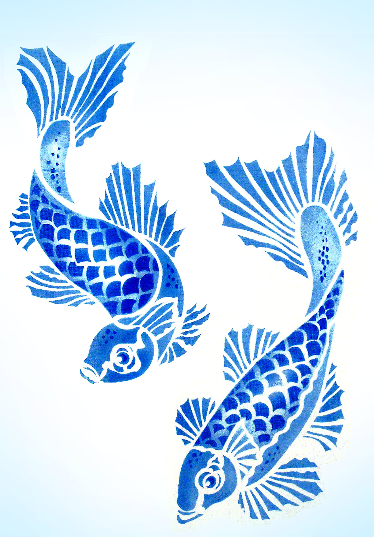 Koi carp stencil henny donovan motif for Koi company