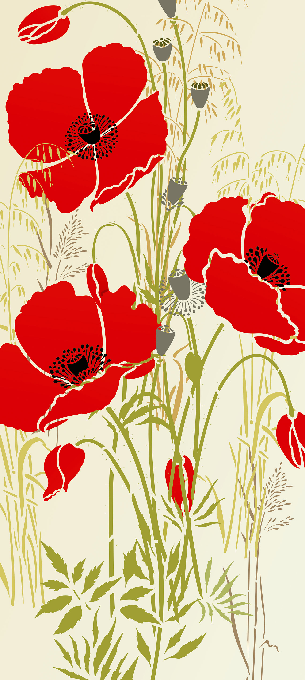 Large Wild Poppies Theme Pack Stencil Henny Donovan Motif
