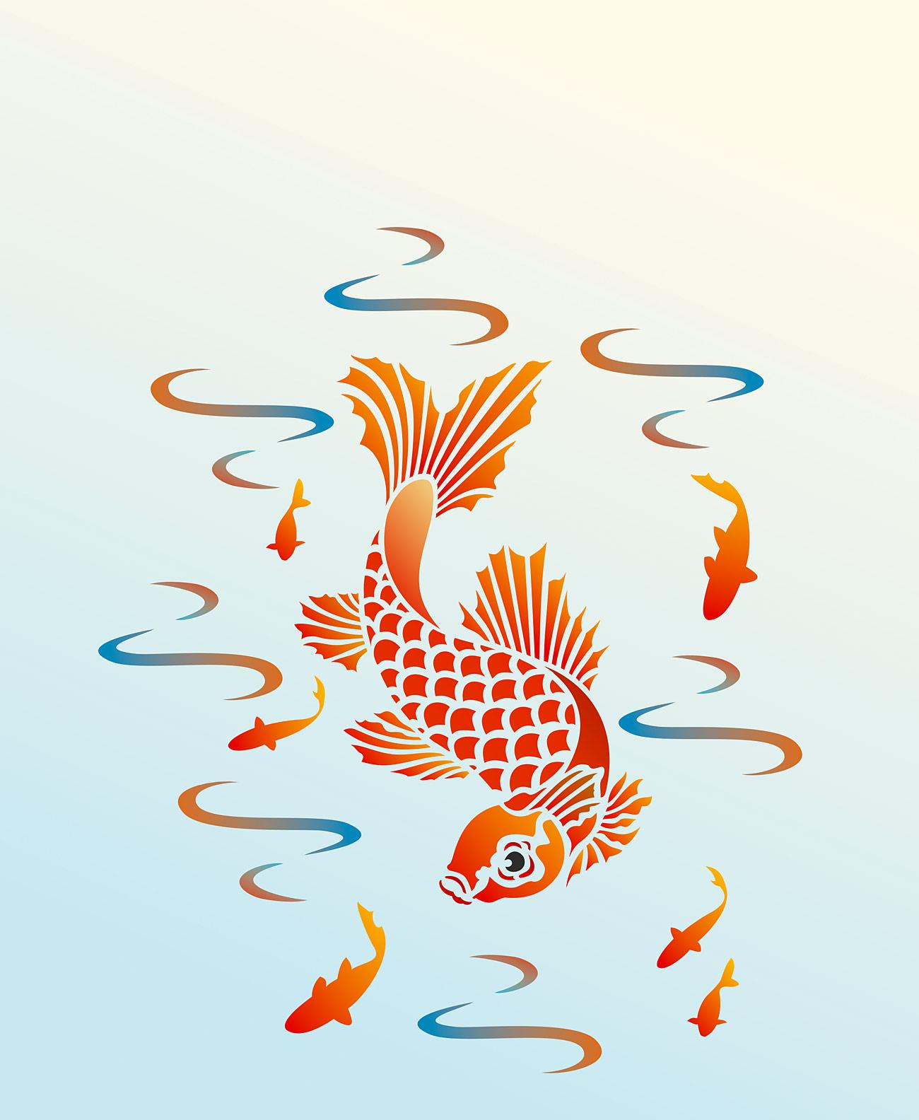 Little koi stencil 1 henny donovan motif for Koi company