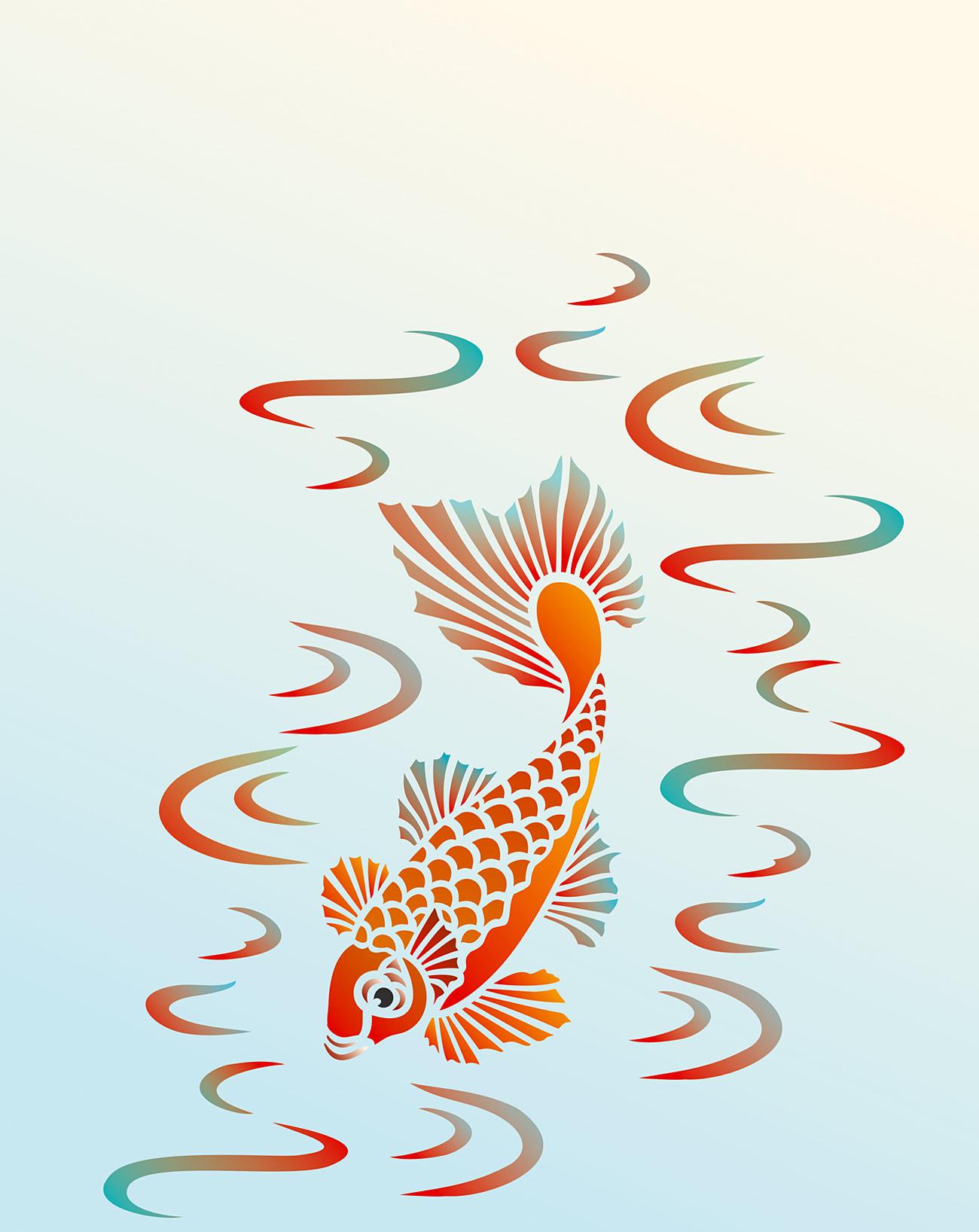 Little koi stencil 2 henny donovan motif for Little koi fish
