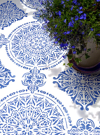 Large Moroccan Ornamental Tile Design Stencil Full Repeat