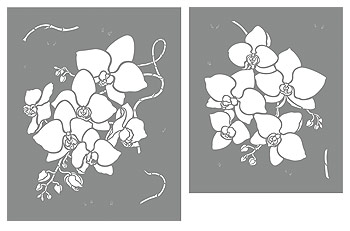 Large Orchid Flowers Stencil Henny Donovan Motif