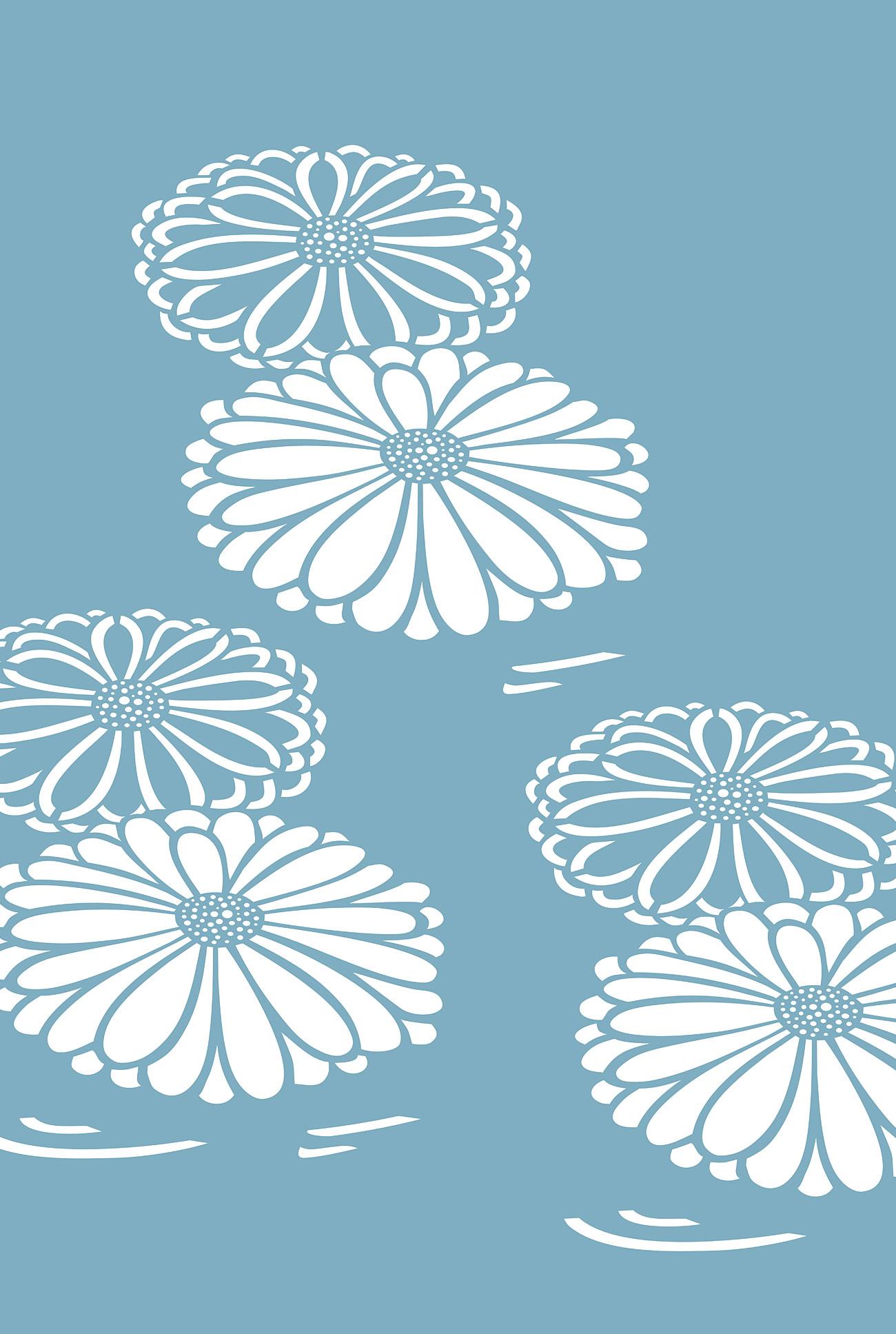 Oversize Japanese Chrysanthemum Stencil Henny Donovan Motif