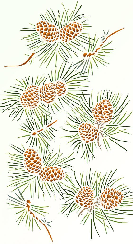 Pine Cones Stencil Henny Donovan Motif