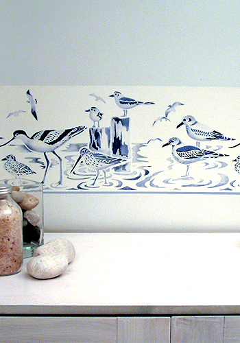 navy border art coastal birds border stencil henny donovan motif
