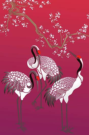Large Standing Cranes Stencil Henny Donovan Motif