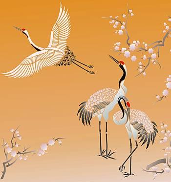 Large Flying Cranes Stencil - Henny Donovan Motif - photo#20
