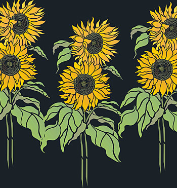 Black And White Sunflower Stencil