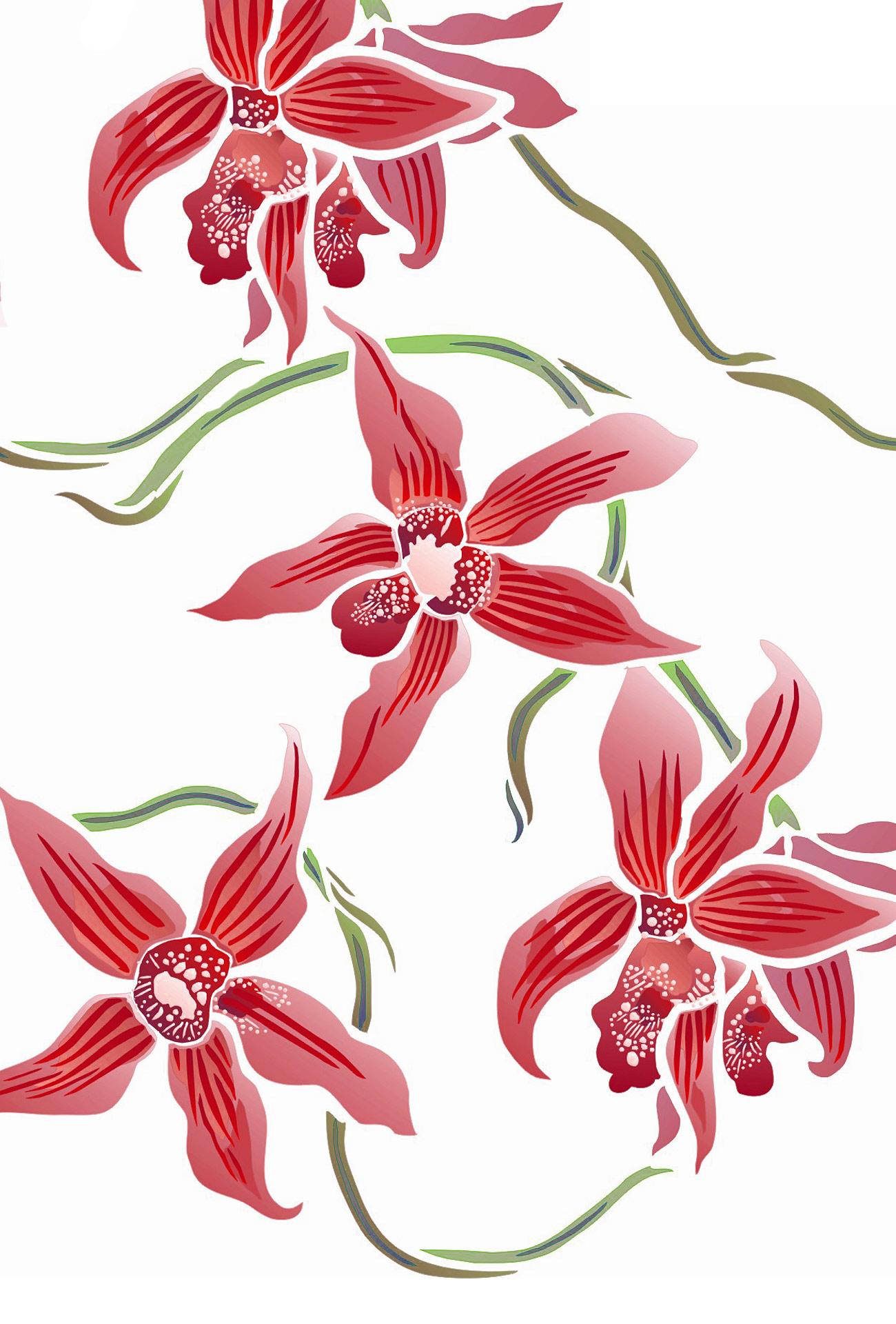 Wild Orchid Stencil Henny Donovan Motif