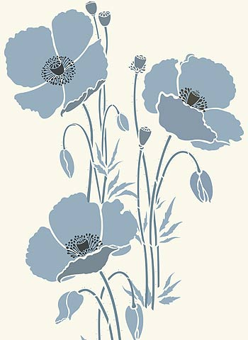 above create an impressively large wall feature by stencilling all three giant poppy stencils together giant poppy stencil 1 middle right