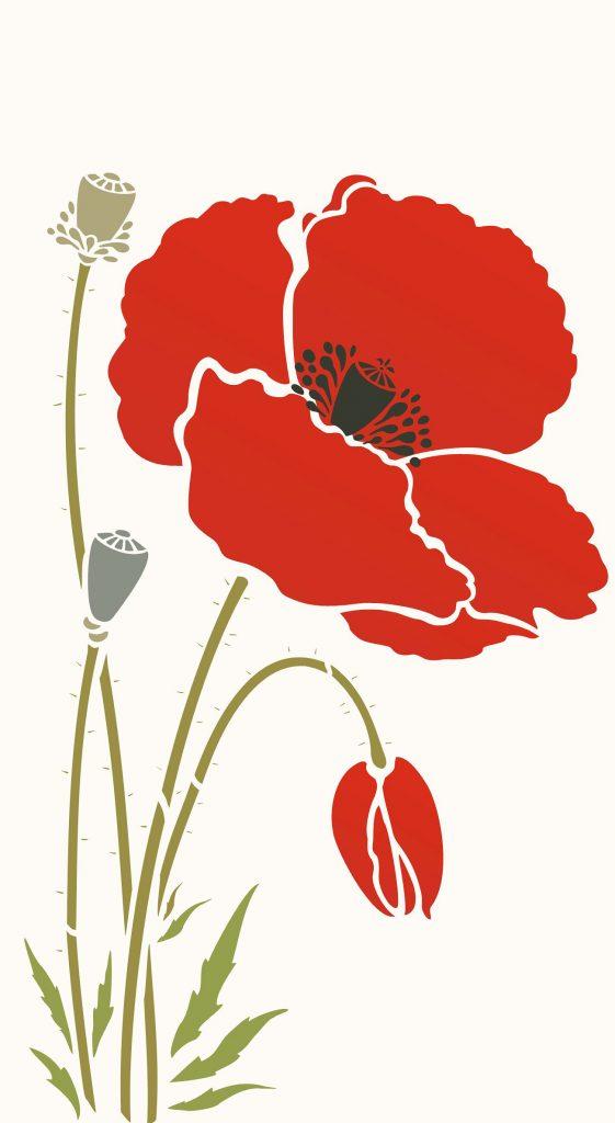 Giant Poppy Flower Stencil 1 Henny Donovan Motif