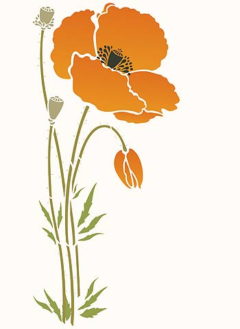 Giant poppy flower stencil 1 henny donovan motif above the main motif of the giant poppy flower stencil 1 stencilled in golden welsh poppy style with added stalk extensions to create a tall single mightylinksfo