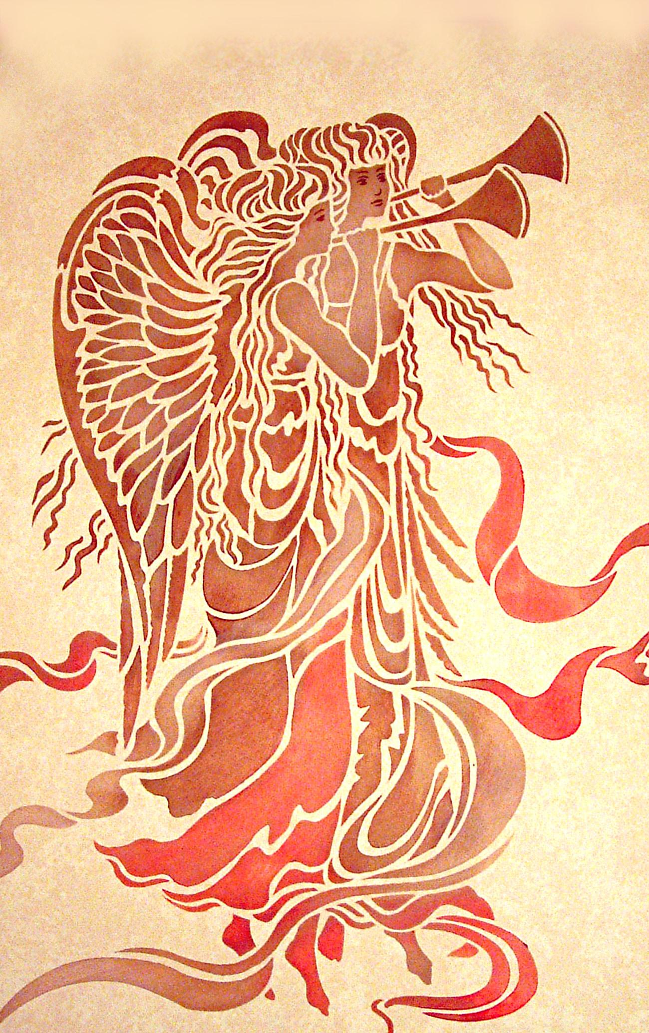 Large Angels Stencil Henny Donovan Motif
