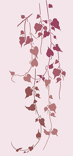 Above U2013 The Six Individual Strands Of The Large Garden Vine Stencil  Arranged As A Group On A Dusky Pink Background, Stencilled In Indian Purple  And Alba ...