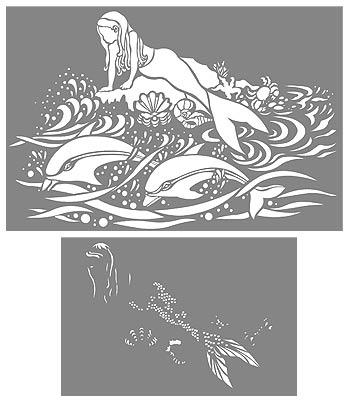 Mermaid And Dolphins Stencil Henny Donovan Motif