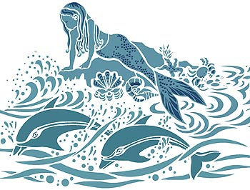 mermaid dolphins stencil henny donovan motif