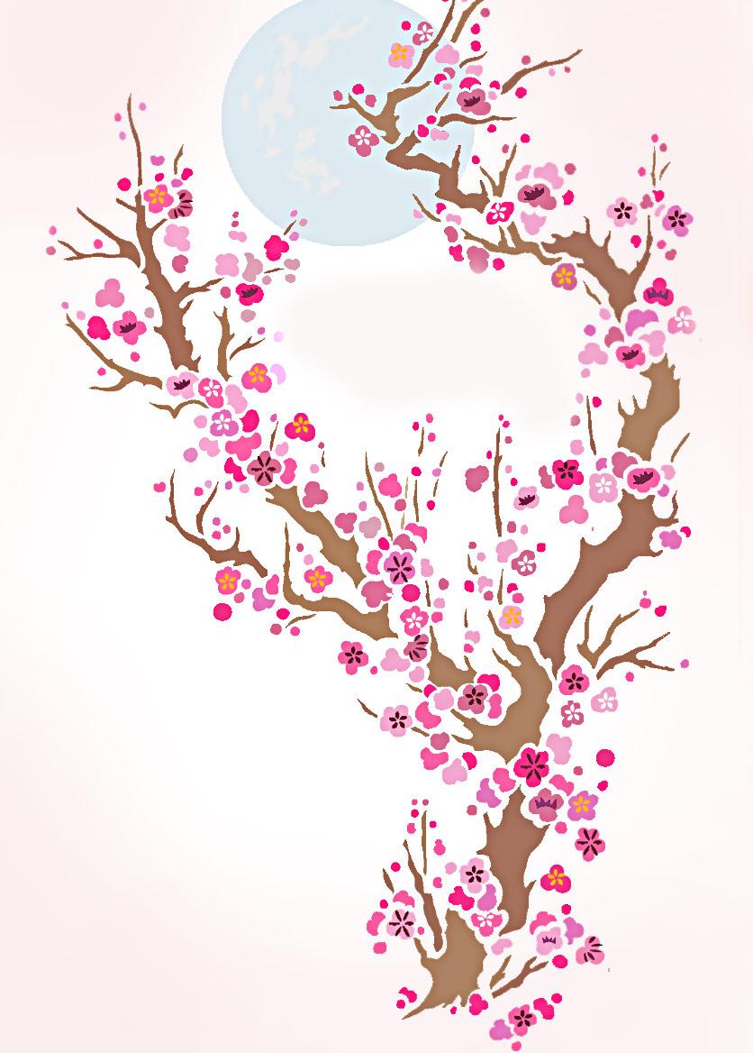 plum blossom amp moon stencil henny donovan motif