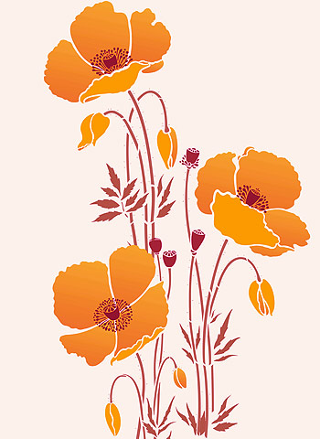 Giant poppy flowers stencils 1 2 3 henny donovan motif above the flower motifs with stalk extensions of giant poppy flower stencils 1 2 3 shown in seville orange harvest gold flowers and buds mightylinksfo
