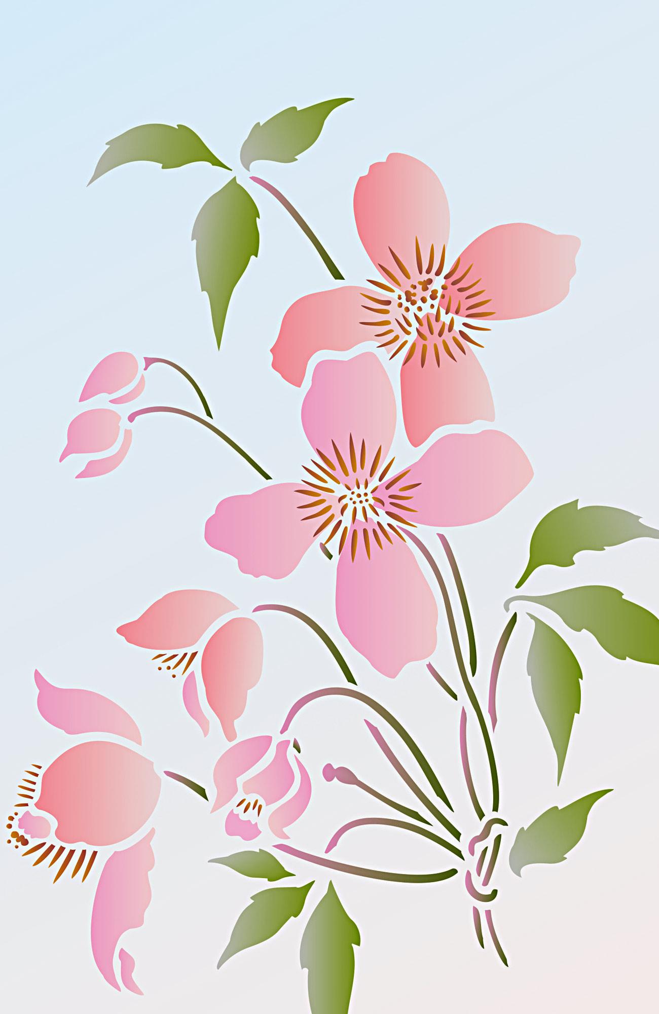 Supersize Montana Clematis Flower Stencil 1 Henny