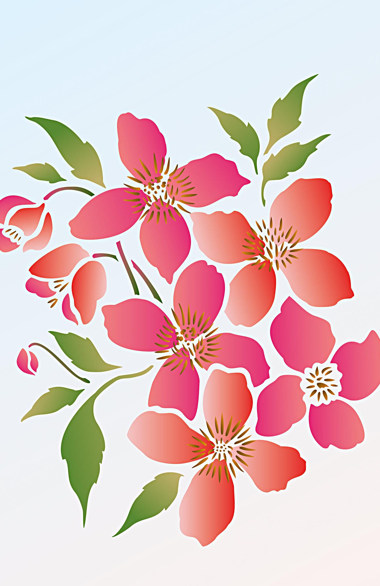 Supersize Montana Clematis Flower Stencil 3 Henny