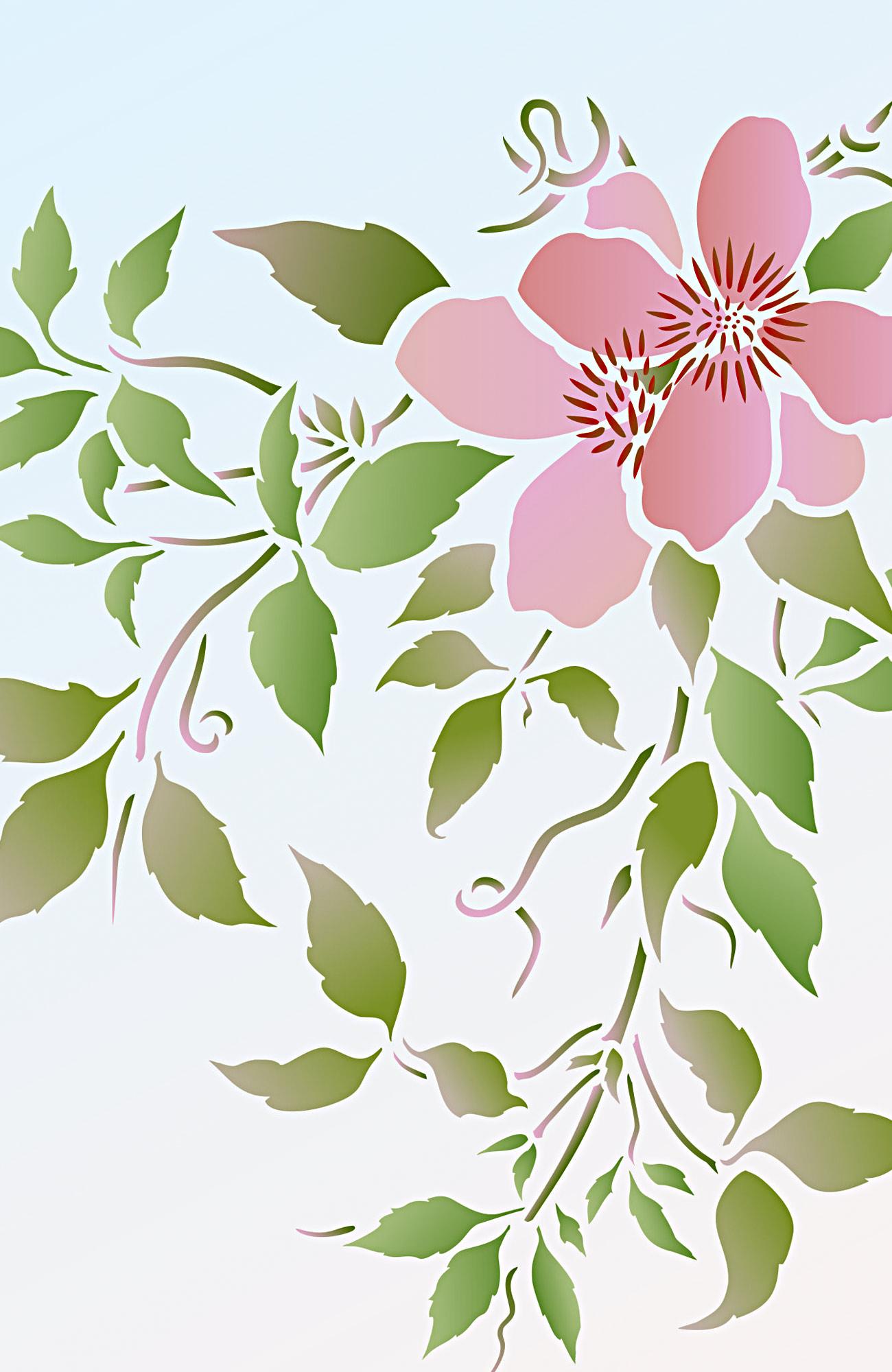 Supersize Montana Clematis Flower Stencil 4 Henny