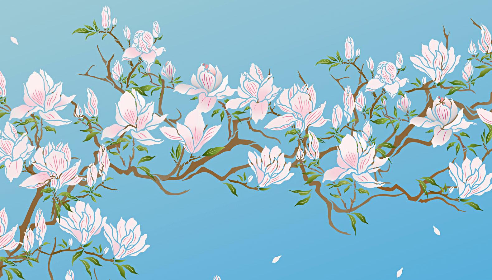 Flowering Magnolia Tree Stencil Design Inspirations Henny