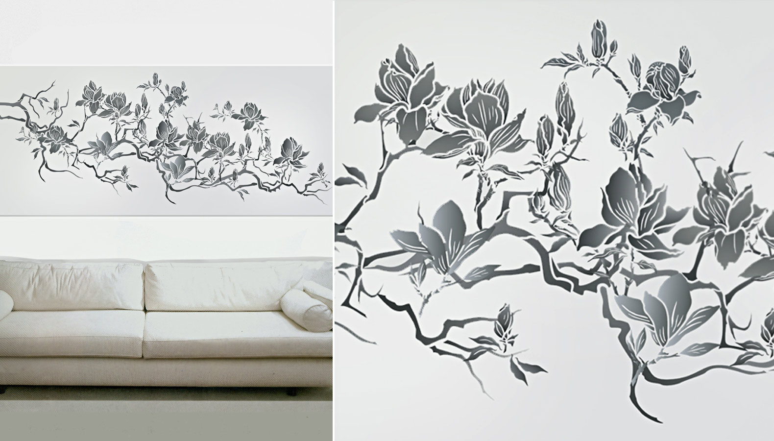 Flowering magnolia tree stencil design inspirations henny the new flowering magnolia tree stencil is great in formal traditional settings simple country rooms or in pared back contemporary interiors amipublicfo Images