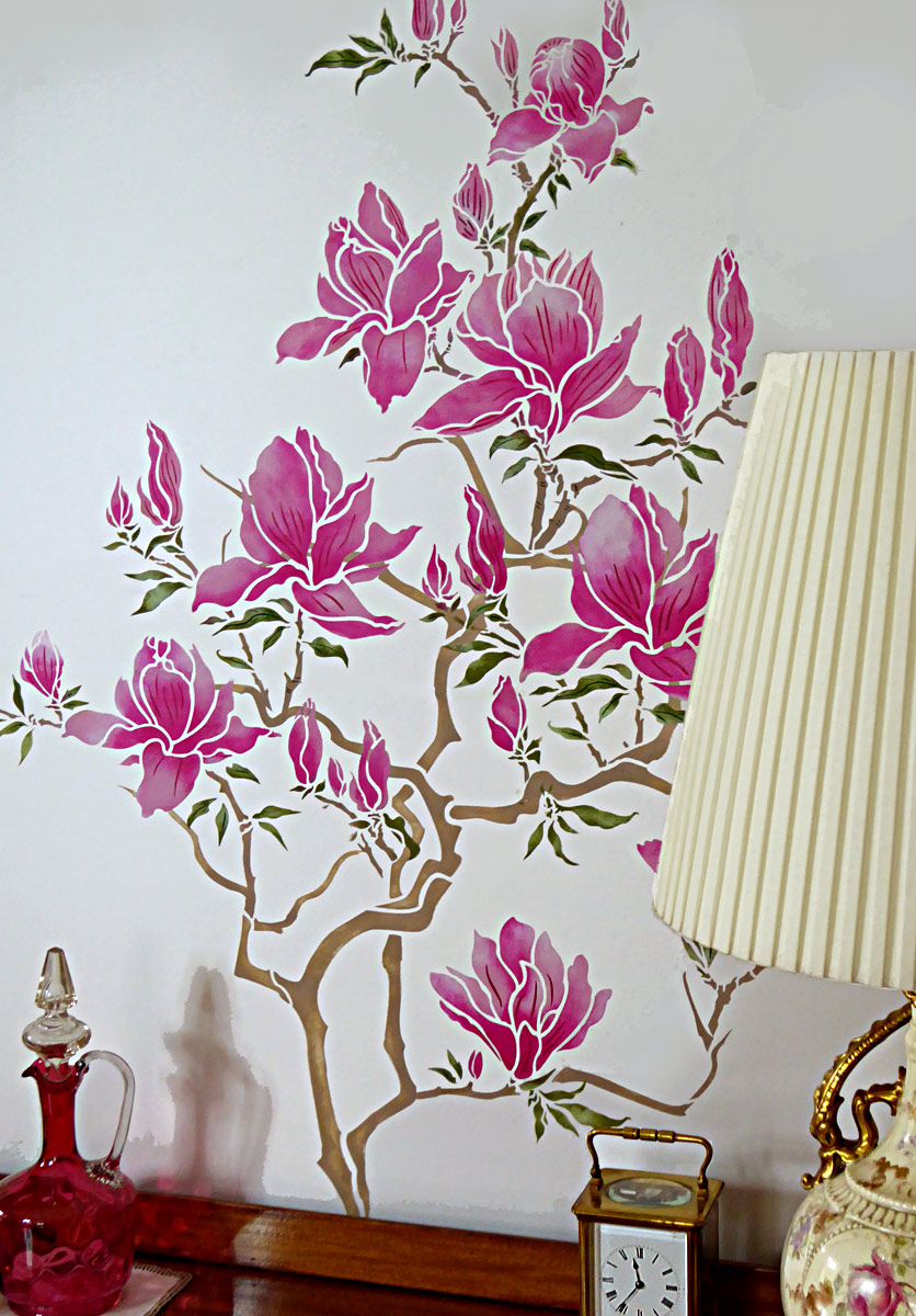 Flowering magnolia tree stencil henny donovan motif above and top the main branch motif is stencilled first and then the flowering motifs added to create the effect extra leaves are also added for balance amipublicfo Images